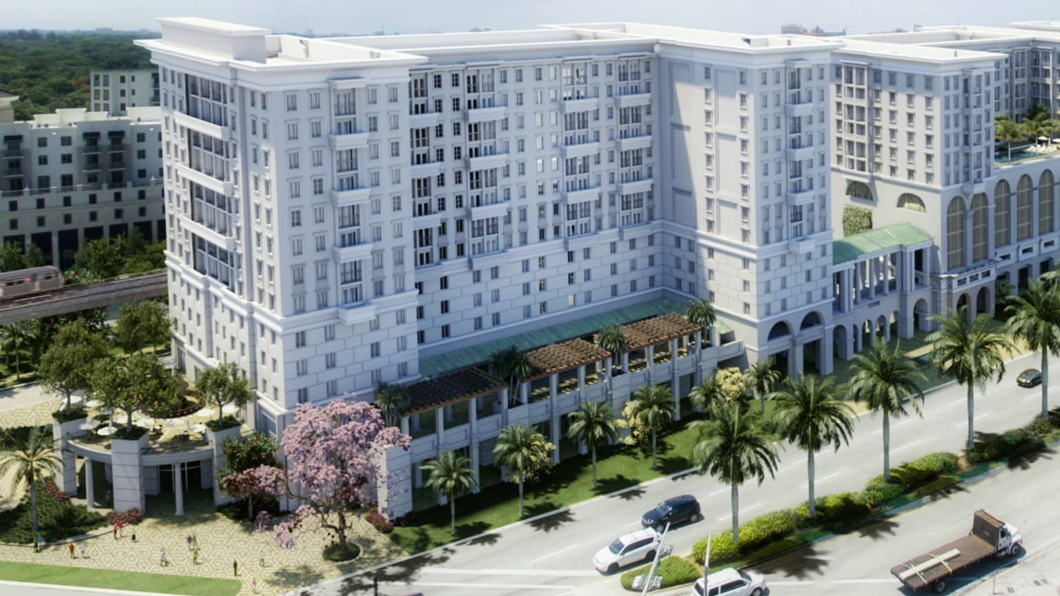 An illustration of the exterior of the Life Time Living in Coral Gables, Florida