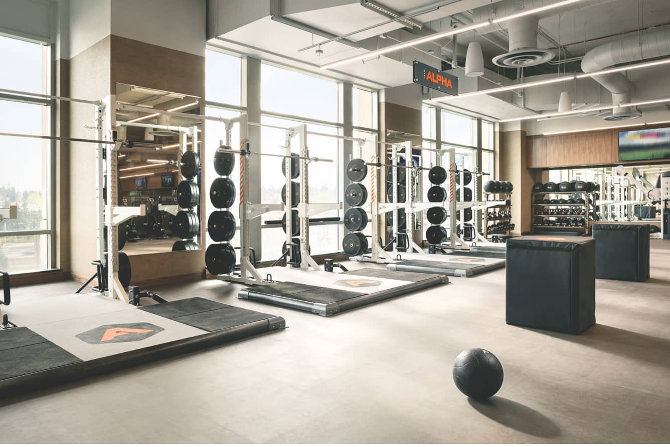 Life Time's Alpha weight lifting stations