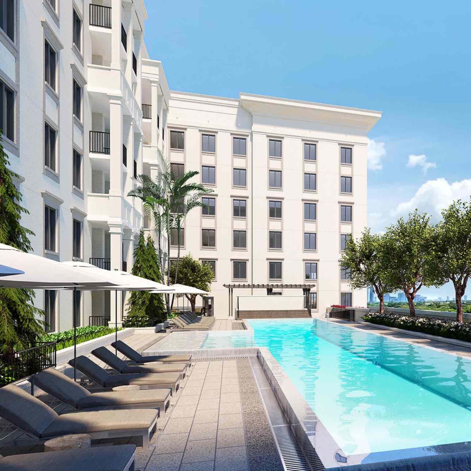 A photographic illustration of the outdoor pool space at the Life Time Living in Coral Gables, Florida