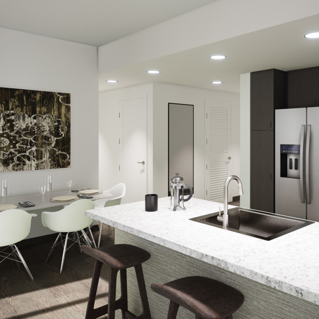 A photographic illustration of the kitchen area of a residential space at the Life Time LIving in Coral Gables, Florida
