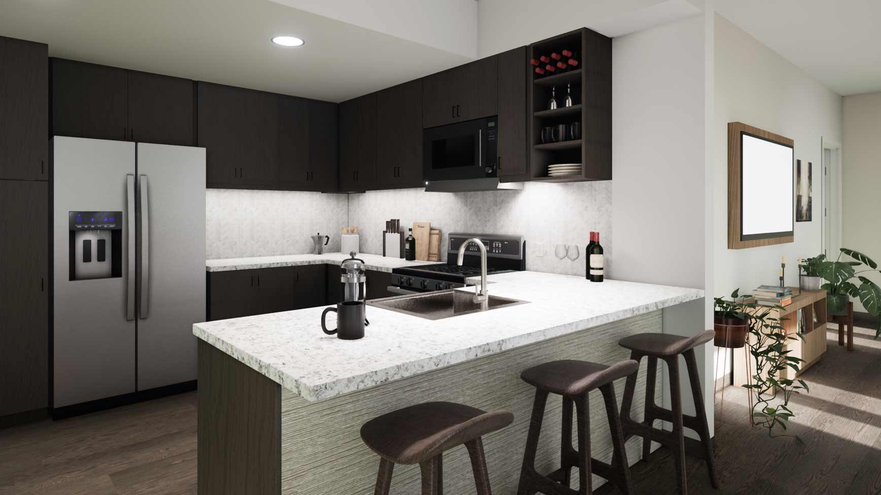 The kitchen and living area of a residential space at the Life Time LIving in Coral Gables, Florida