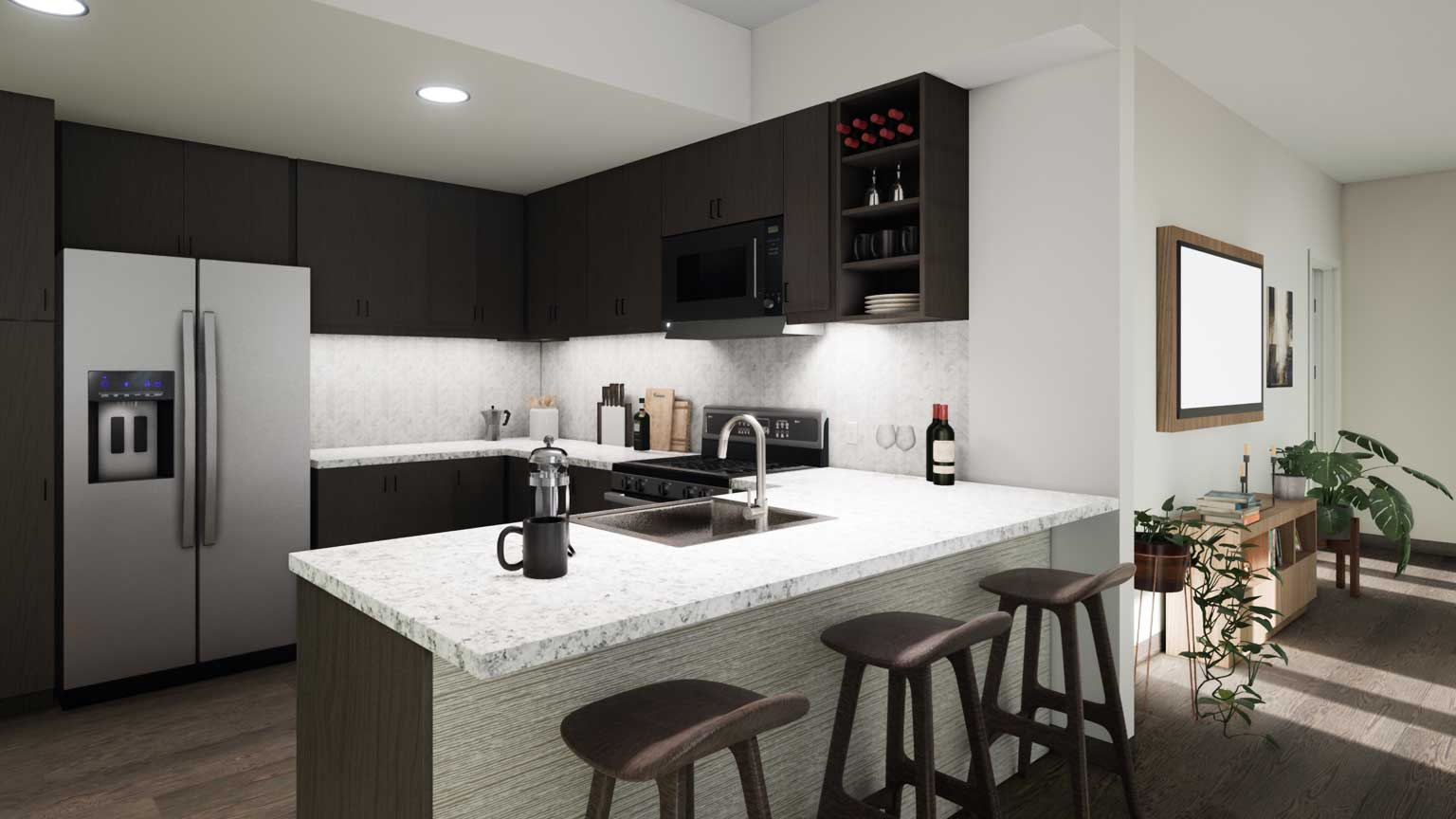 A photographic illustration of an open kitchen with balcony at a residential space at the Life Time Living in Coral Gables, Florida