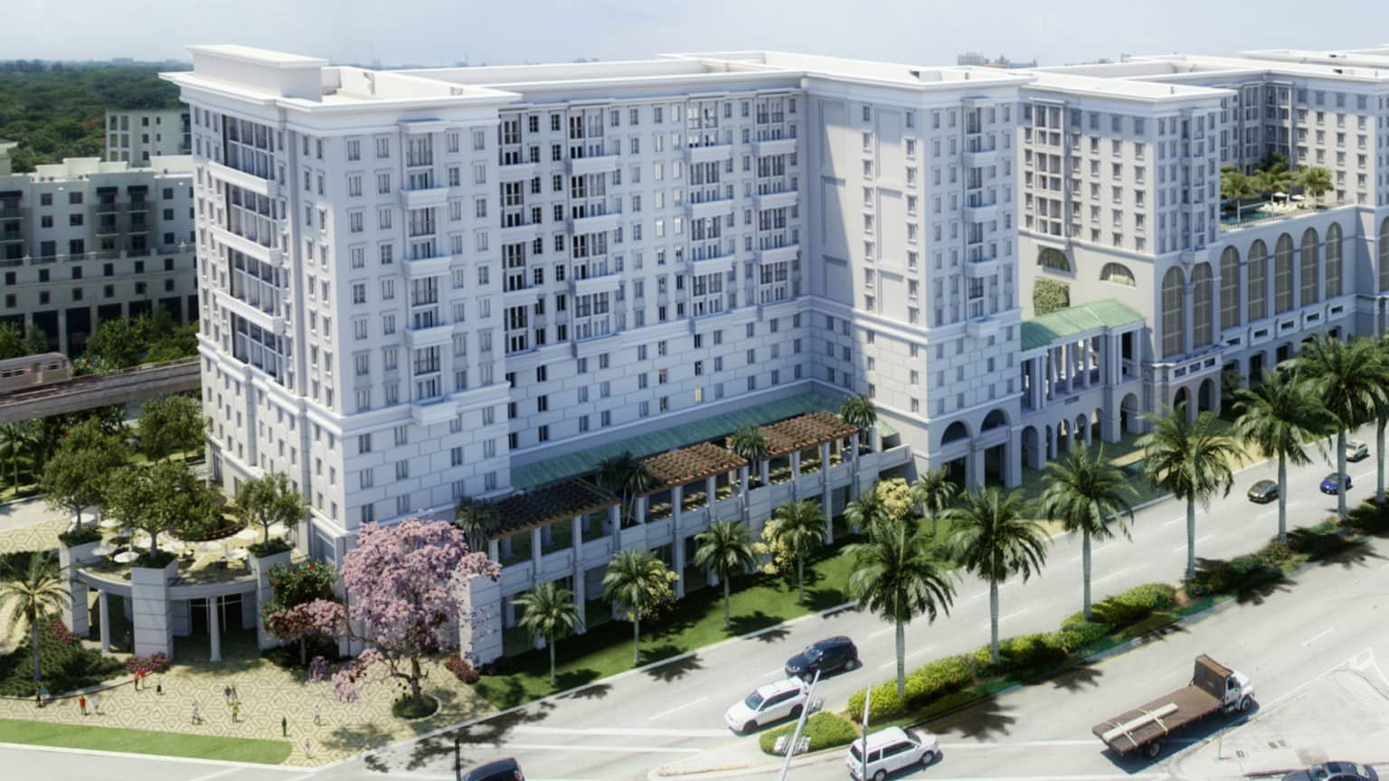 A photographic illustration of the exterior of the Life Time Living in Coral Gables, Florida