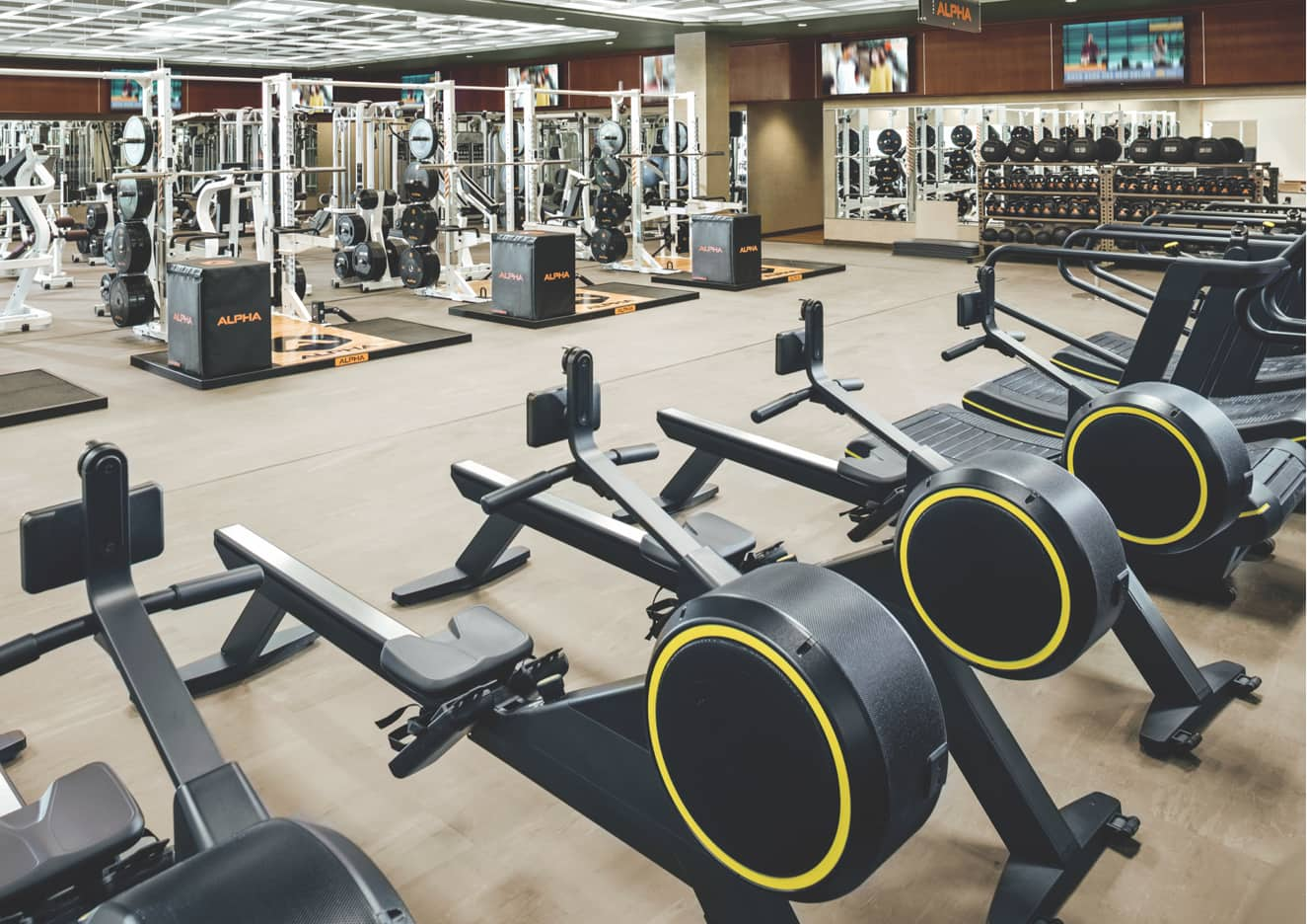 The fitness floor at a Life Time Athletic Resort and Spa