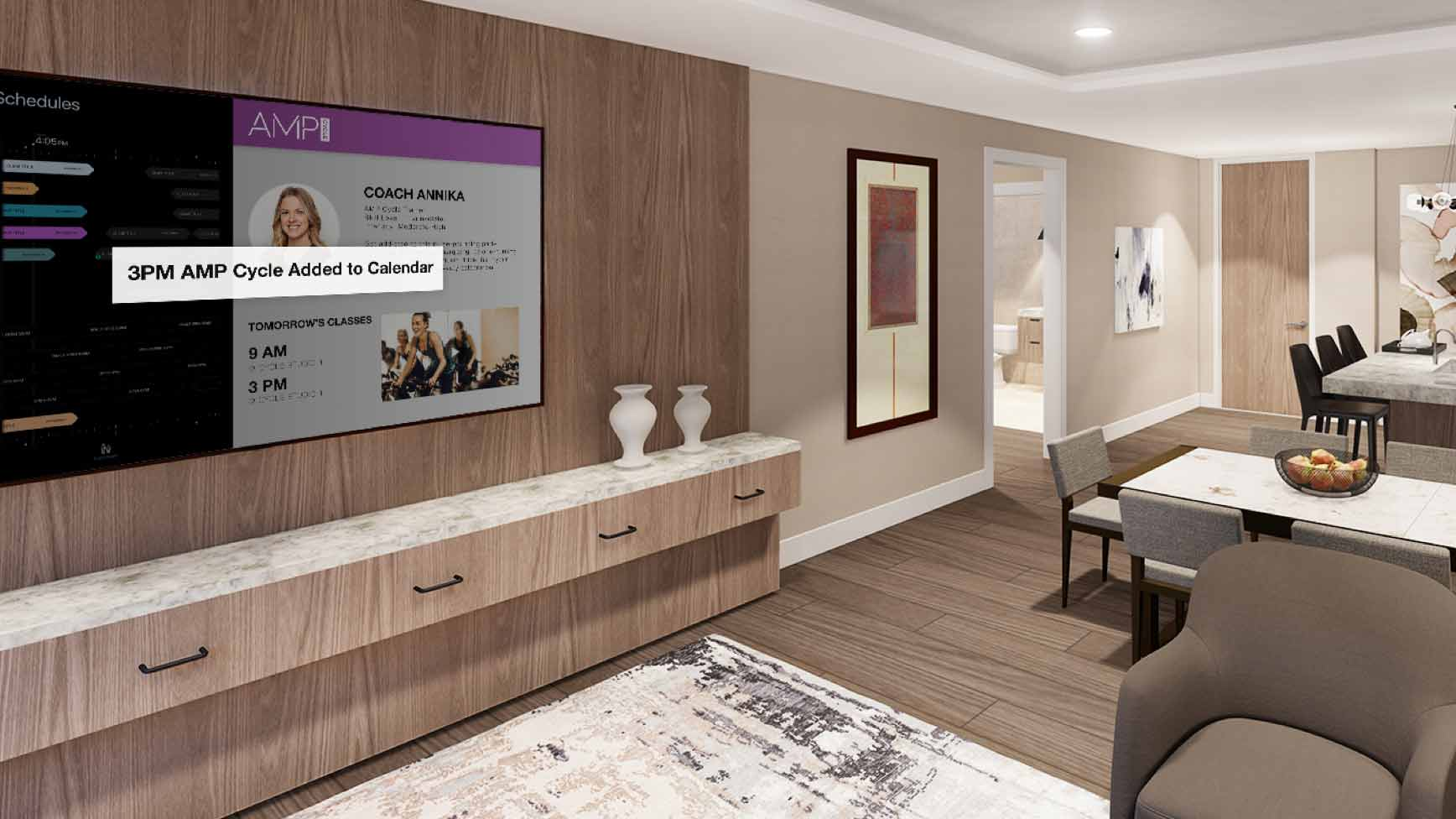 A photographic illustration of a bedroom in the Life Time Living residential space in Green Valley, Nevada