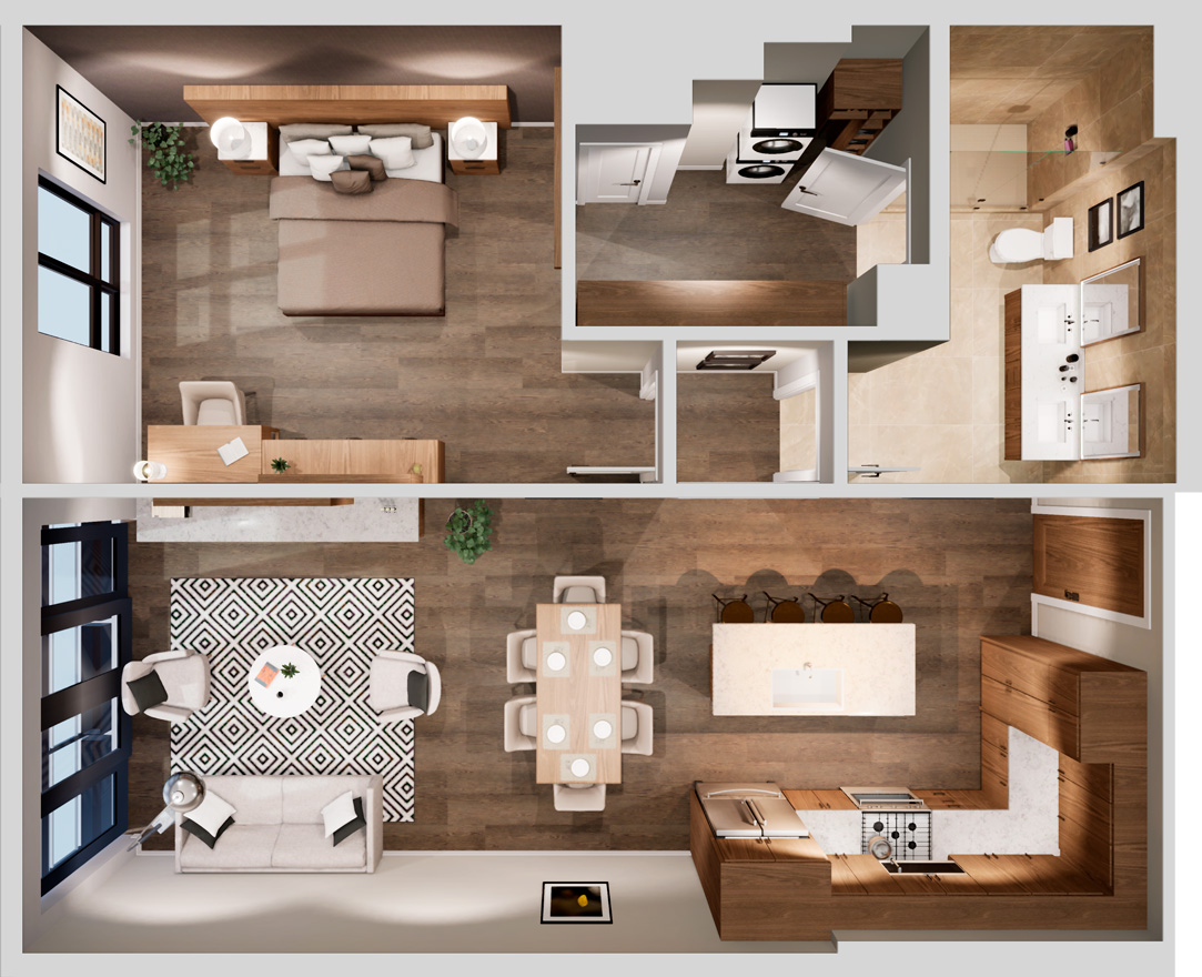 Aerial view of a one-bedroom floorplan at Life Time Living