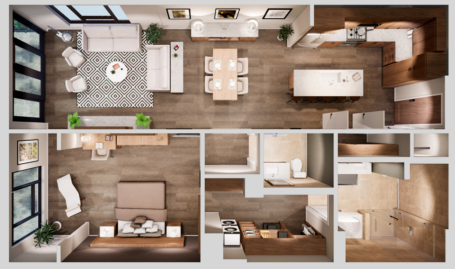 Aerial view of a one-bedroom floorplan with a balcony at Life Time Living