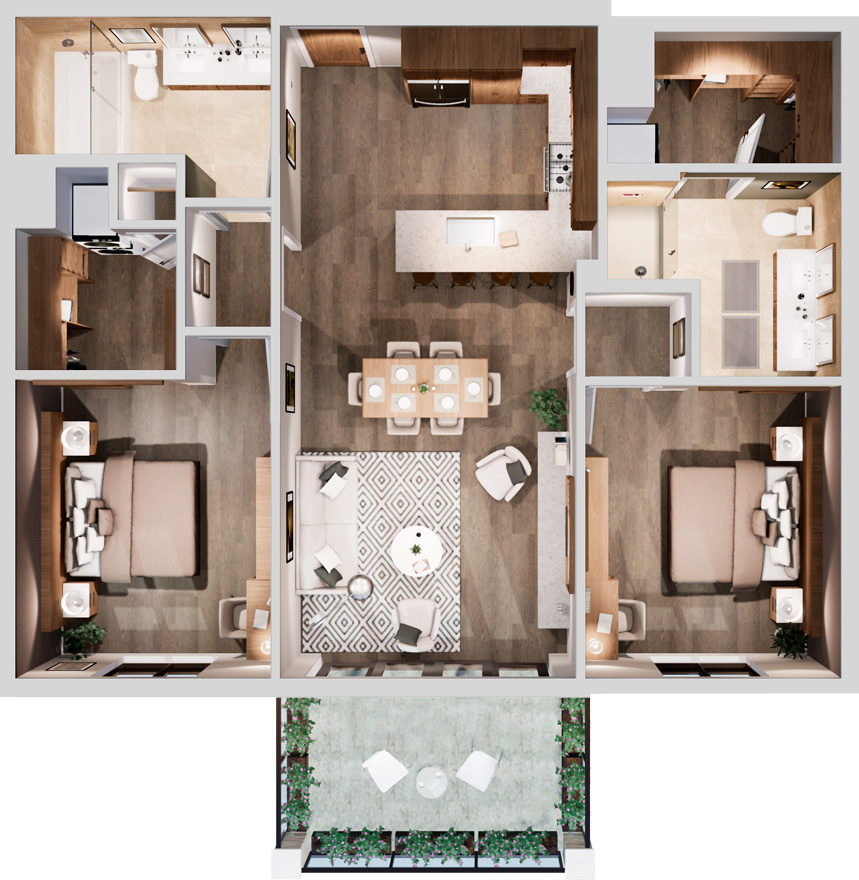 Aerial view of a two-bedroom floorplan with a balcony at Life Time Living