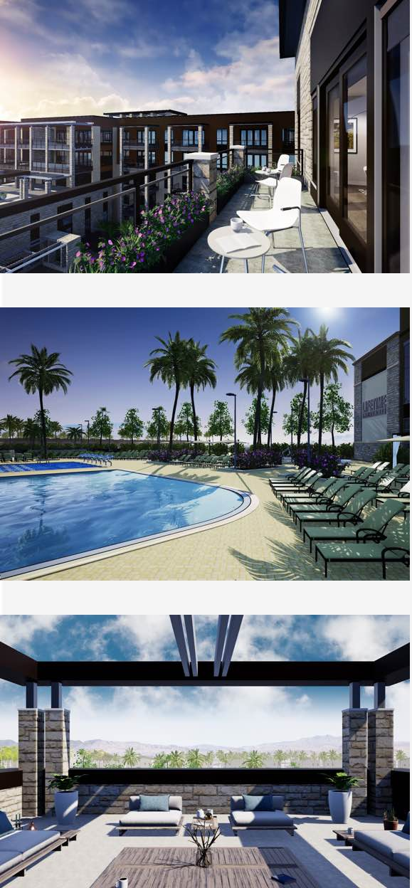 Outdoor pool, balcony and luxury lounge area with beautiful palm tree views